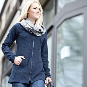 Ibex Alana Tunic Sweater Full Zip in Blue Wool